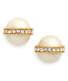 pearl & crystal stud earrings