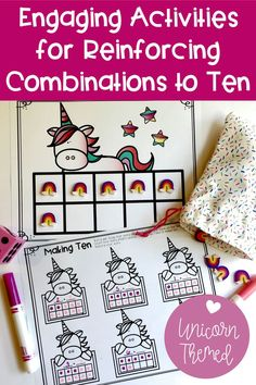 Help your students master all the ways to make ten with these fun, easy to prep, and hands on activities that are perfect for centers or small group instruction. Kids in Kindergarten and first grade love the unicorn and rainbow themed materials. Teachers