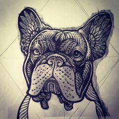 Finished sketch #french #bulldog #tattoo #illustration #ornamental #geometric #sacred #geometry #doglover #dog #pet #tatuaje #cute #chile #mandala #tribal #art #painting #pattern #filigree #blacktattooart @blacktattooart