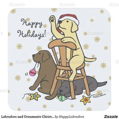 Labradors and Ornaments Christmas Coasters Square Paper Coaster