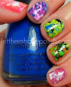 China Glaze Summer Neons Splattered Mani
