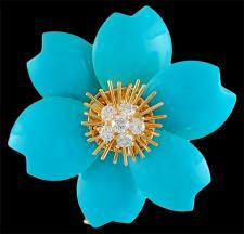 GABRIELLE'S AMAZING FANTASY CLOSET | Van Cleef & Arpels Diamond & Turquoise 'Rose de Noel' Pin