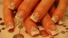 White tips, silver glitter and Snowflakes Nail Art
