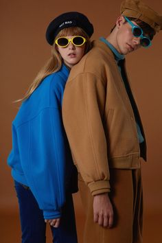Baseball jacket Camel&blue twin look love