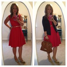 Perfect day to night outfit. Cute burgundy dress with gold skinny belt, statement necklace, and blazer.