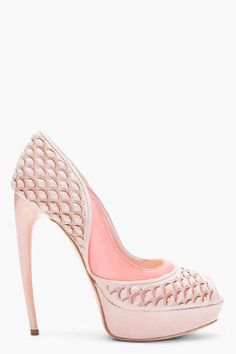 ALEXANDER MCQUEEN Nude Scaled Suede Pumps