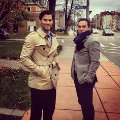 """""""These guys want an audition for the next Zoolander. Rico and Cammy show off their gameday swag in Buffalo. Zoolander, New Jersey Devils, Buffalo, Hockey, Swag, Guys, Instagram Posts, Jackets, Fashion"""