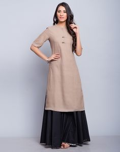 Cotton Khadi Elbow Sleeves Long Kurta-Brown/Olive: Buy Fabindia Cotton Khadi Elbow Sleeves Long Kurta-Brown/Olive Online in India. – Fabindia.com