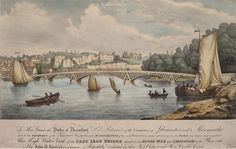 This high water view of the Cast Iron Bridge erected over the River Wye at Chepstow, Wales. Digital record of 1820 postcard digitized by the National Library of Wales.