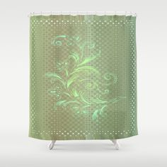 Dots and Stripes Floral Abstract Shower Curtains by Judy Palkimas