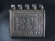 Antique Tree of Life silver amulet container from India.