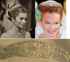 Belgian Diamond Tiara worn by Queen Paola and now, Queen Mathilde, shown here wearing it as her Wedding Tiara.