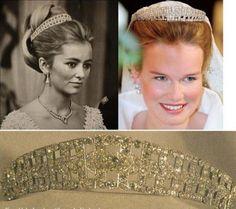 Belgian Diamond Tiara worn by Queen Paola and now, Queen Mathilde, shown here wearing it as her Wedding Tiara.