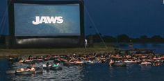 JAWS Boat In Movie on Dale Hollow Lake at Mitchell Creek Marina | Who wouldn't want to watch JAWS on a floating screen, in the dark, in the water, in an inner tube?