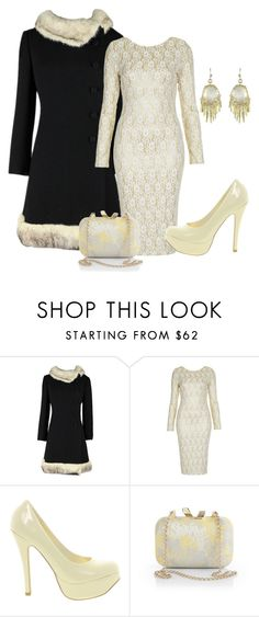 """Vintage 1960s Fur Trimmed Coat"" by dgia ❤ liked on Polyvore featuring TFNC, Sugarfree Shoes, KOTUR, Kendra Scott and vintage"