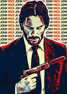 digital art from the film actor john wick in a style inspired by hope style with dominant colors red, blue and gray. with the name text behind it creates beautiful artwork.john wick with the pose holding the gun is ready for action. John Wick Hd, John Wick Movie, Dope Cartoon Art, Dope Cartoons, Movie Wallpapers, Animes Wallpapers, Baba Yaga John Wick, One Punch Man, Foto Doctor