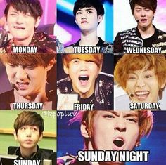 Thank you EXO... Perfect example of my feelings during the week lol