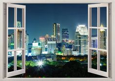 Bangkok wall sticker window, Thailand decal for nursery home decor, colorful city at night wall art for kids children room decoration [014]
