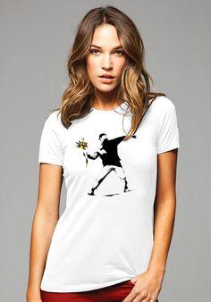 Banksy Flower Thrower Women's T-Shirt