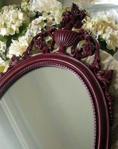 Dark Red Wall Mirror  Victorian Mirror  by WildMountainStudio