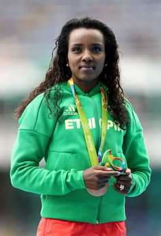 Tirunesh Dibaba of Ethiopia poses with the bronze medal for the Women's 10,000 Meters Final on Day 7 of the Rio 2016 Olympic Games at the Olympic Stadium on August 12, 2016 in Rio de Janeiro, Brazil.