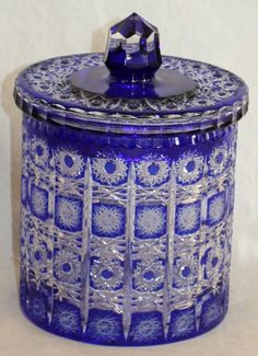BOHEMIAN COBALT TO CLEAR CUT GLASS BISCUIT BARREL