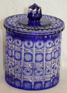 BOHEMIAN COBALT TO CLEAR CUT GLASS BISCUIT BARREL, COOKIE JAR