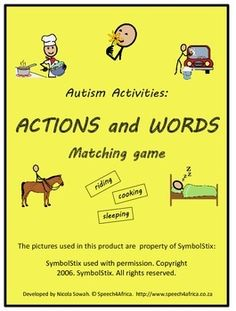Autism Activities: Actions and Words Matching Game Children With Autism, Working With Children, Action Words, Autism Activities, Autism Spectrum Disorder, Printed Pages, Word Out, Matching Games, Therapy Ideas