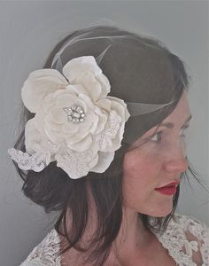 Modern vintage bridal veil and head piece   in love with!!!!
