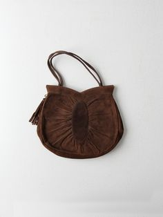 1940s suede leather hand bag