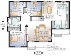 Rez-de-chaussée Bungalow économique à l'américaine, 3 chambres, grand salon, buanderie au r-d-c, vestibule fermé, îlot cuisine - Pommeraie