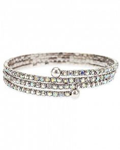 Nefereti Aurora Borealis Crystal White Gold Rhodium Wrap Bracelet for $9.00 at BaubleBox.com