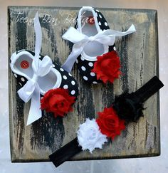 Black & White Polka Dot Baby Girl Shoes -Fancy Glamour Baby Crib Shoes-Baby Headband and Shoes-Newborn Baby Girl on Etsy, $23.95