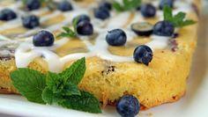 Langpannkake med blåbær, sitron og mandel