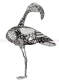 Black and White Art Pen and Ink Animals Flamingo Bird Illustration Signed 8 x 10 Print Home Decor Design Drawing