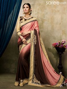 PEACH AND BROWN SATIN CHIFFON SAREE WITH EMBROIDERY WORK