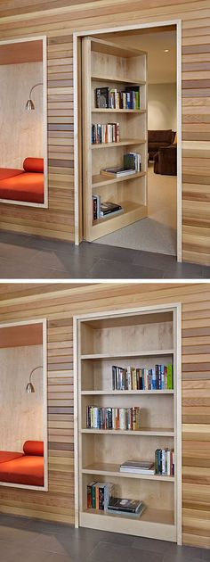 What would you hide in a secret lair behind a movable bookcase? A man cave? Your candy stash? #homefeatures
