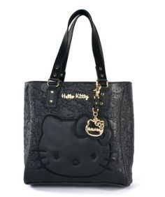 Loungefly Hello Kitty Black Embossed Face Satchel
