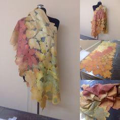 Авторский валяный палантин, нунофелтинг-мериносовая шерсть 18мк и натуральный шелк. Палантин окрашен вручную. Разм. 180х70см. На заказ любой цвет.