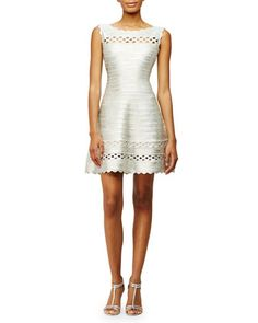 Sleeveless+Fit-and-Flare+Bandage-Knit+Dress,+Silver+by+Herve+Leger+at+Bergdorf+Goodman.