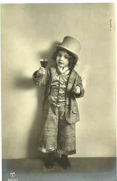 Little Boy in a Top Hat c.1912 Postcard