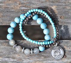 Trio of Blue and Grey Bracelets / Fall 2013 Jewelry. Handmade Beaded Bracelets by BeadRustic |