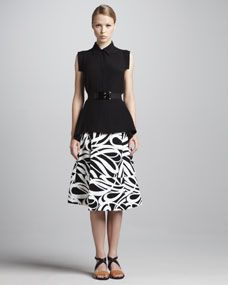 Cap-Sleeve Button-Front Blouse, Graphic-Print A-Line Skirt & Elastic Horn Belt