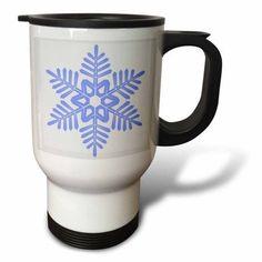 3dRose Christmas Blue Snowflake- Holiday Art, Travel Mug, 14oz, Stainless Steel