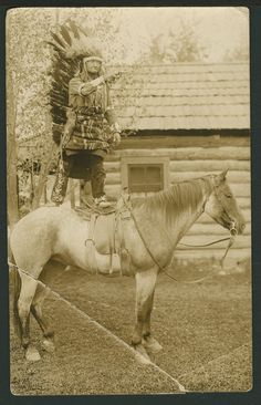 Postcard showing Chief Red Wolf, a member of the Sioux tribe, shooting a gun from the back of a pony. Between 1910 and Native American Images, Native American Tribes, Native American History, American Symbols, American Women, Sioux Nation, Sioux Tribe, Native Indian, Native Art