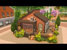 Industrial Cafe, Sims House, Sims Cc, Gazebo, Outdoor Structures, House Styles, Building, Industrial Coffee Shop, Kiosk