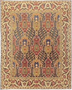 Turkish Hereke rug - Antique Turkish Rug - Antique Rug - BB5914 by Doris Leslie Blau   Size: 12' × 9'7'' Circa: 1920 An early 20th century Turkish Hereke , the midnight blue field with an allover millefleur pattern surrounding rows .
