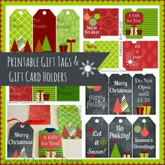 Printable Christmas Gift Tags and Gift Card Holders