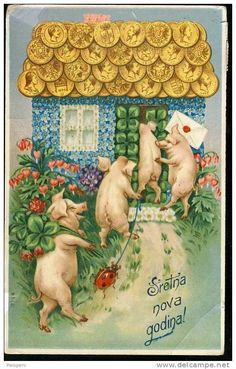 Happy New Year Postcard Vintage Christmas Cards, Vintage Cards, Happy Pig, Weird Vintage, Family Wishes, Pig Stuff, New Year Postcard, Pig Art, New Year Images