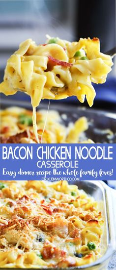 Easy family dinner ideas like Bacon Chicken Noodle Casserole are a fantastic way to have comfort food fast. Delicious chicken recipes like this are always a favorite in our house! Don't miss my tip for making this super quick.